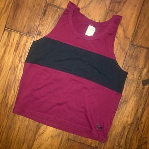 Maroon and black active wear tank top